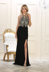 Shoulder Straps Lace Applique & Rhinestone Ity Dress With Front Slit- LAMQ1568