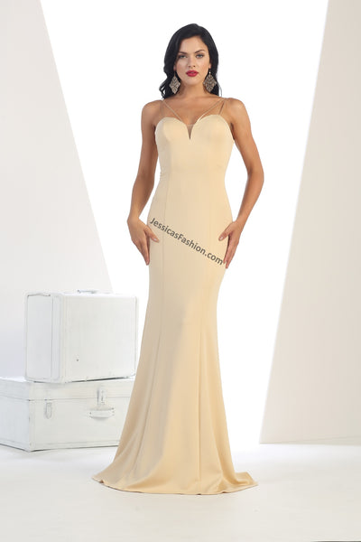 Spaghetti Straps Full Length Satin Dress- LAMQ1407