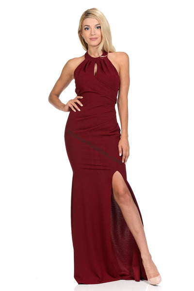 Criss Cross Long Ity Dress With Front Slit- LA5180
