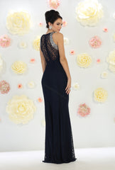 Sleeveless Rhinestone Lace Dress- LAMQ1475