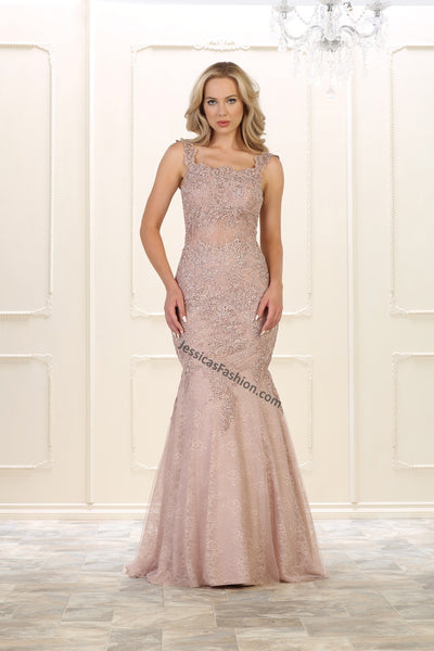 Shoulder Straps Sequins & Mesh Mermaid Dress- LARQ7544