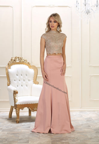 Cap sleeve sequins top & long Ity skirt 2pice set- LARQ7442