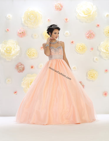 Strapless sequins mesh quincenera gown- LALK60