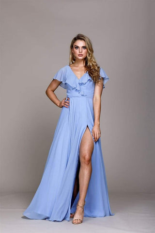 Chiffon Bridesmaid Dress with Sleeves - Perry Blue / 2