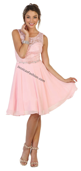 Sleeveless Lace Applique Short Chiffon Dress- MQ1521