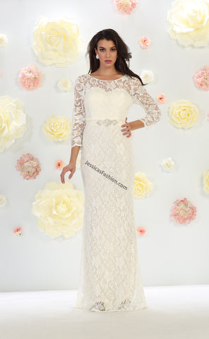 Quarter Sleeve Rhinestone Lace Bridal Dress- LAMQ1454B
