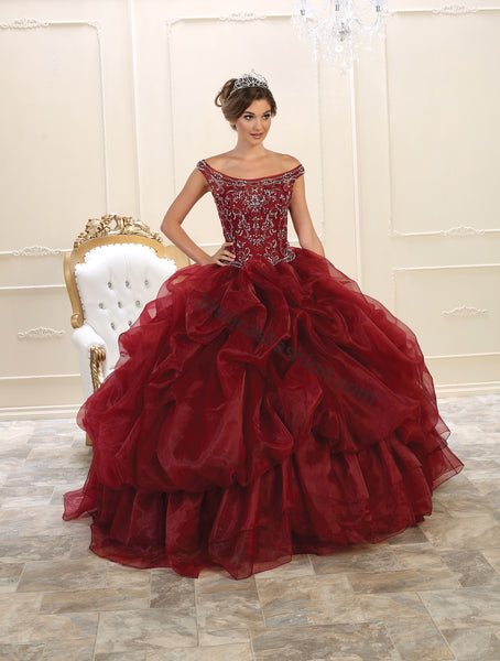 Off shoulders Rhinestones Organza Quinceanera Dress- LALK94