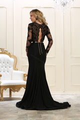 Long Sleeve Embroiderer Long Mesh Dress- LARQ7624
