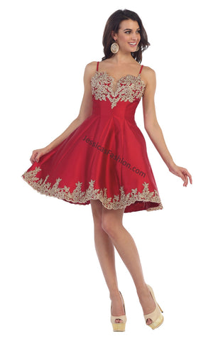 Metallic Lace Applique & Rhinestones Mikado Dress- LAMQ1445