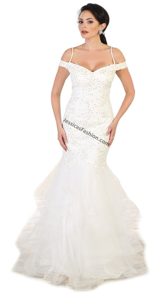 Off Shoulders Lace Applique & Rhinestone Mesh Bridal Dress- LARQ7502B