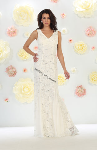 Sleeveless Sequins Mesh & Lace Bridal Dress- LAMQ1448B