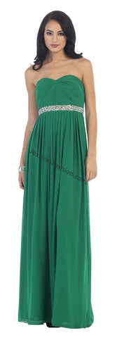 Strapless Rhinestone Pleated Chiffon PLUS Size Dress- LAMQ1169
