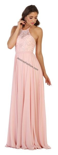 Halter Beaded Rhinestone Low Back Chiffon Dress- MQ1507