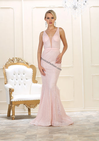 Sleeveless Fully Beaded Rhinestones Long Mesh Dress- LARQ7607