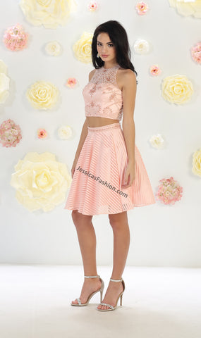 Sleeveless top with pearls & short chiffon skirt- LAMQ1444