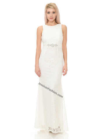 Sleeveless Rhinestone & Lace Bridal Dress- LA5169B