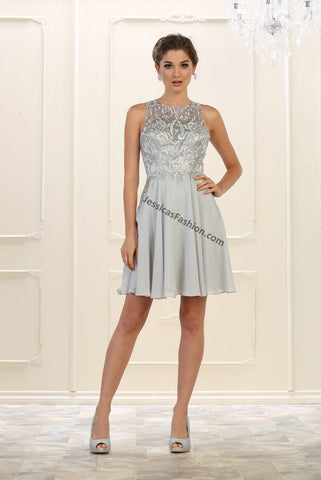 Sleeveless Embroidered & Rhinestone Sassy Chiffon Dress- LAMQ1556