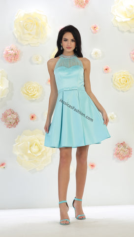 Halter Rhinestones Short Sassy Satin Dress- LAMQ1474