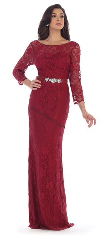 Quarter Sleeve Rhinestone Lace Dress- LAMQ1454