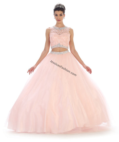 Sleeveless lace & rhinestones top with mesh skirt- LALK81