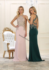 Halter Rhinestones Long Satin Dress- LAMQ1538