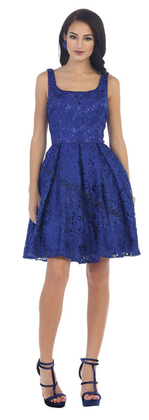 Shoulder Straps Short Lace Dress- LAMQ1433