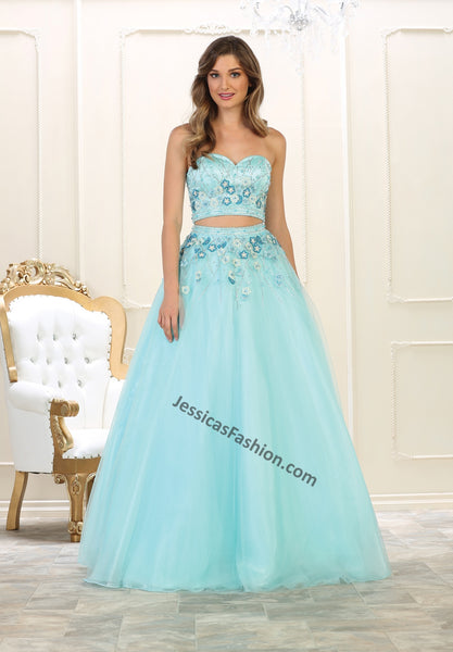 Strapless rhinestones top & beaded long skirt- LARQ7617