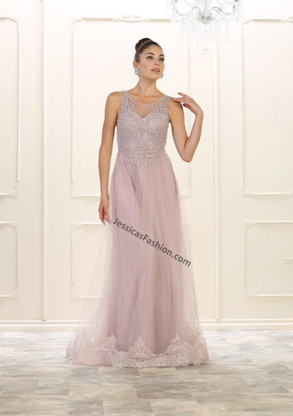 Sleeveless Pearls & Rhinestones Long Mesh Dress- LARQ7569