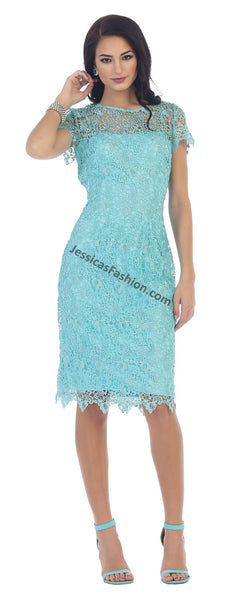 Cap Sleeve Lace Short Dress- LAMQ1253