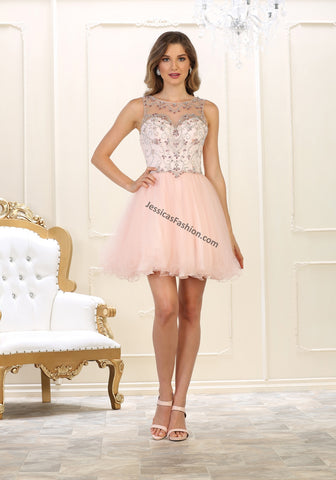 Sleeveless Rhinestone & Mesh Short Sassy Mesh Dress- LAMQ1555