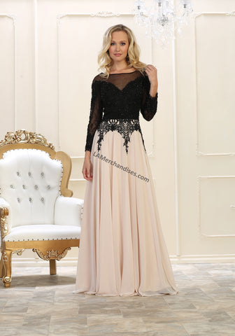 Long Sleeve Rhinestone & Mesh Long Chiffon Dress- LARQ7588