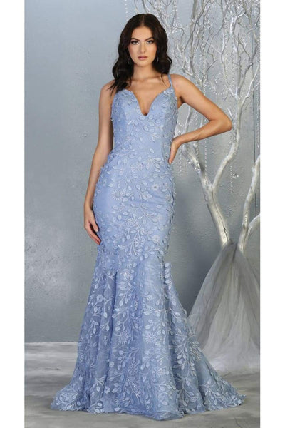 Floral Mermaid Evening Gown - DUSTY BLUE/NUDE / 4 - Dress