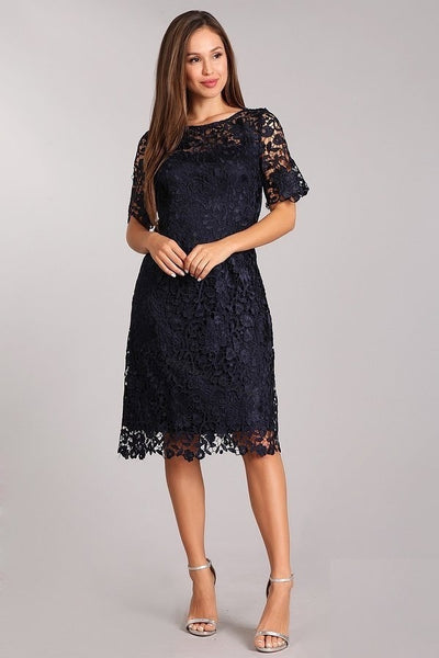 Short Sleeve Short Lace Dress- LAGA2306