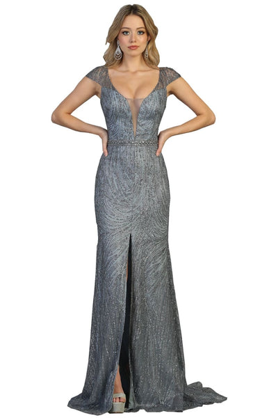 Glitter Evening Gown - DUSTY BLUE / 4 - Dress