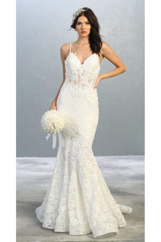 Lace Mermaid Bridal Gown - LA7865B - Ivory / 4 - Dress