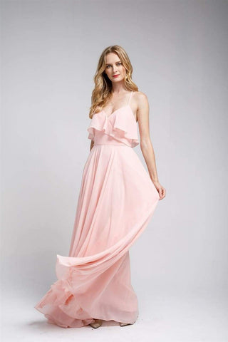 Long Chiffon Bridesmaid Dress - LAA475 - Blush / 2