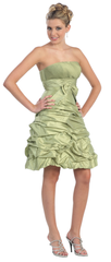 Strapless Posh Short Taffeta Dress- LAMQ505