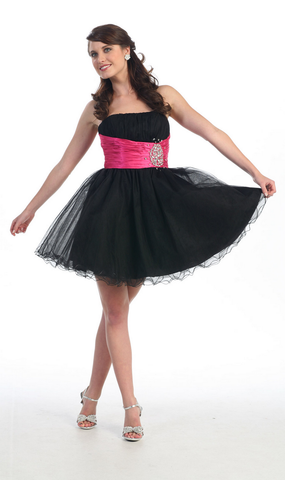 A Cute Strapless Sequins Mesh Sassy Dress- LAMQ611