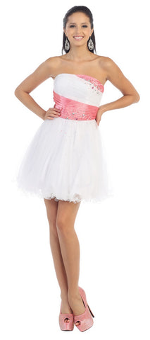 A Cute Strapless Sequins Mesh Sassy Short Dress- LAMQ797