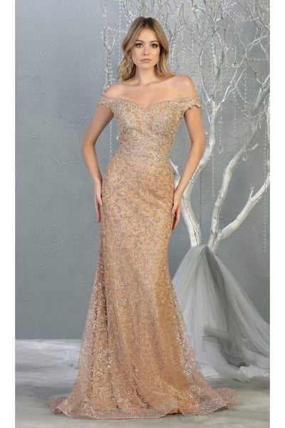 Off Shoulder Long Formal Gown - Champagne/Gold / 4 - Dress