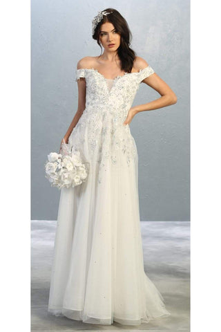 Off shoulder princess bridal gown - LA7850B - Ivory / 4