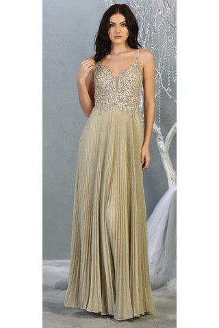 Pleated Special Occasion Formal Gown - CHAMPAGNE / 4