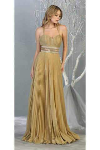 Prom Pleated Designer Long Dress And Plus Size - CHAMPAGNE/GOLD / 4