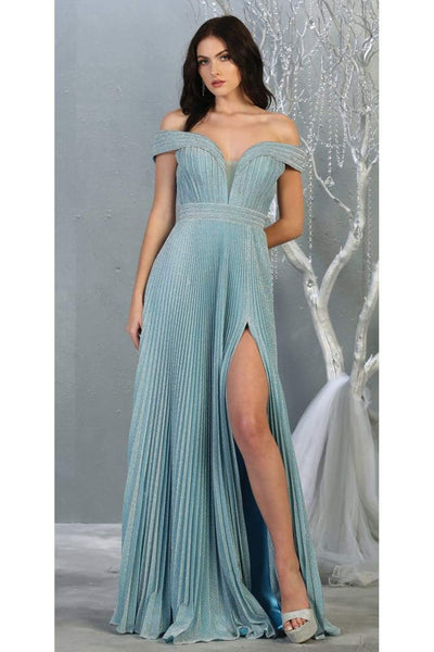 Ruched Off Shoulder Formal Gown - LA7876 - Dusty Blue / 4