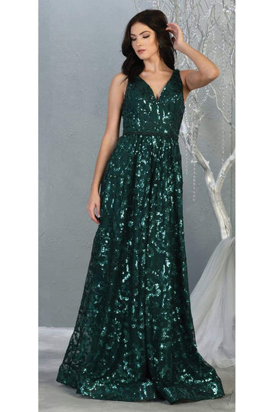 Sequined Formal Prom Gown And Plus Size - HUNTER GREEN / 4
