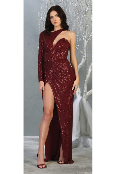 Sexy One Long Sleeve Evening Gown - BURGUNDY / 4