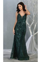Sexy Open Back Sequined Dress - Hunter Green / 2 - Dress