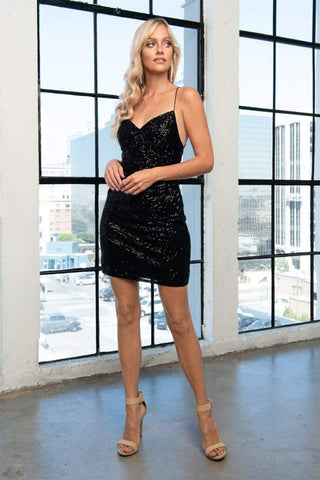 Sexy Sequins Short Dress - LAABZ002S - BLACK / 2