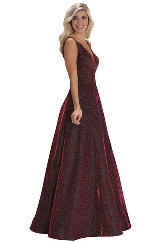 Shiny A-Line Evening Gown - Burgundy / 4