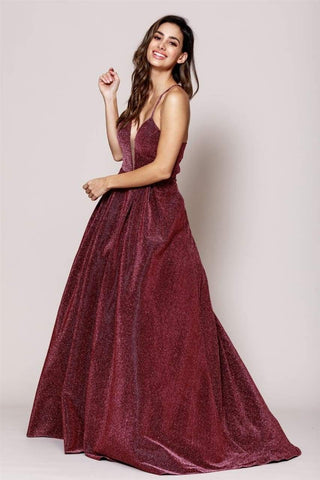 Shiny Open Back Long Gown With Side Pockets - LAA595 - Burgundy / 2